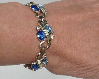 Blue Rhinestone Bracelet Vintage