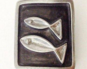 Mid century Brooch Rune Tennesmed Pewter Fish