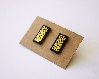 Geometrical square leather earrings in black and gold, polka dots