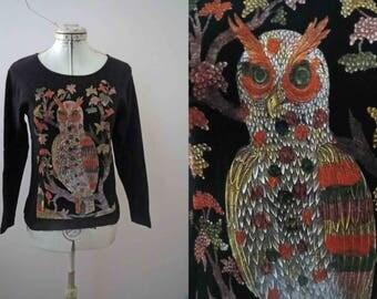 Russian Owl Woodcut Print T shirt Unisex Medium
