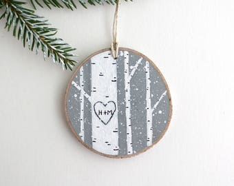 Personalized Winter Birch Forest Ornament - Hand Painted Christmas Ornament - Woodland Ornament