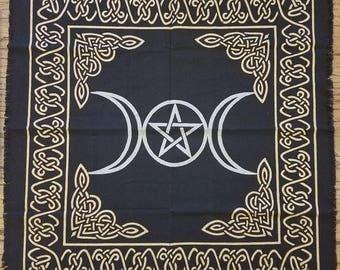 Sale: Witches' Alter Cloth - Triple Goddess, Pagan Ritual, Tarot, Black Woven Cloth, Silver Pentagram & Crescent Moons + Gold Celtic Border