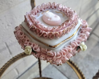 Victoria Capodimonte Cameo Trinket Box Pink Ruffled Hand Crafted and Painted Designer C. Gileta Italy