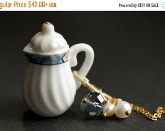 BACK to SCHOOL SALE Porcelain Teapot Necklace. Geometric Tea Pot Necklace with Blue Crystal and Pearl Charms. Blue Necklace. Gold Necklace.