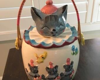 Gray kitten clown cat COOKIE JAR vintage cottage chic kitchen