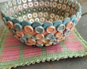 Vintage folk art bowl, button bowl assemblage,  this rare piece is buttons attached to one another to form a bowl, shabby chic pink and blue
