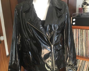 Black Vinyl Motorcycle Jacket