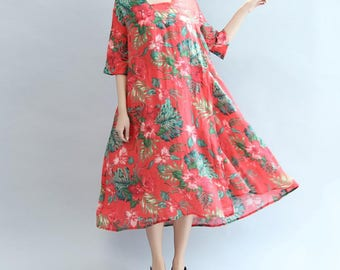 Women Loose large size long dress women Maxi dress Leisure long gown