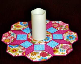 Octagon Table Topper or Candle Mat - Pink Floral and Butterfly Octagon Table Topper or Candle Mat