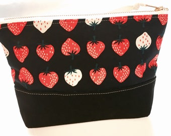 Strawberry Zipper Bag, Cosmetic Pouch, Travel Bag, Waxed Canvas Base, Black, Cream, Navy and Red