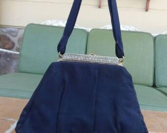 Vintage women's handbag art deco Marcasites dance swing purse WWII blue stefen 1940's