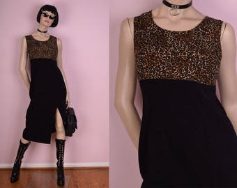 90s Black and Leopard Print Dress/ Large/ 1990s/ Tank/ Sleeveless