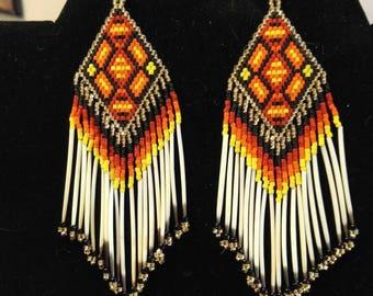 Native American Style Beaded Geometric Quill Earrings  Southwestern, Boho, Brick Stitch, Loom, Gypsy,  Peyote Great Gift