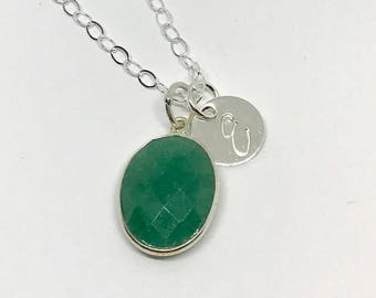 Gemstone Personalized Initial Necklace - Hand Stamped Necklace - Personalized Gemstone jewelry - The Charmed Wife - Initial Stamped Jewelry