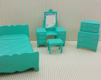 Marx  Bedroom bed Vanity Stool High boy  Traditional Dollhouse Toy Furniture soft  plastic Turquoise