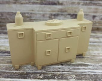 Marx Dining room Sideboard  Toy Dollhouse Contemporary Style Beige Hard Plastic