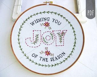 PDF Stitching Embroidery Pattern Holiday Christmas Season Joy