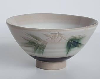 Asian Bamboo Pattern Ultra Glaze Etched Rice Bowl Vintage