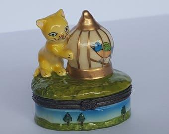 Frisky Kitty Cat and Bird Cage Mini Porcelain Trinket Stash Box Vintage