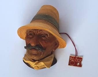 """Bossons 1970s Bossons """"Romanian"""" Chalkware Head Made in England Vintage"""