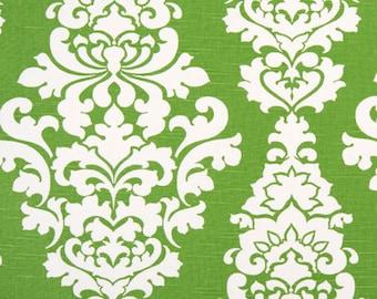 "Two  96"" x 50""  Custom  Curtain Panels - Large Berlin Damask - Kelly Green"