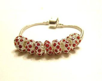 SALE- RESTOCK Date 7-27-17,  5 Silver & Red Crystal High Quality European Slide Charm Bracelet  / Spacer Bead 10mm