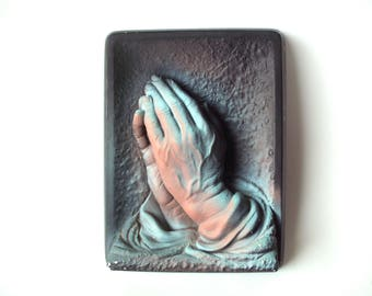 "Vintage Chalkware Praying Hands ""Prayer"" Wall Hanging, Creative Arts Inc."