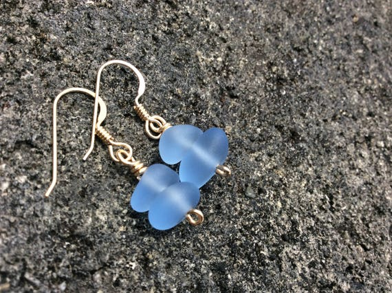 Blue Sea Glass, Double Stacked,  14k Gold Filled Earrings
