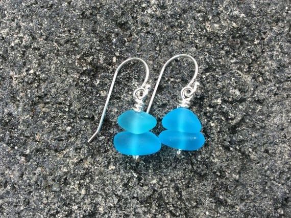 Aqua Blue Recycled Seaglass, Sterling Silver Earrings (02)