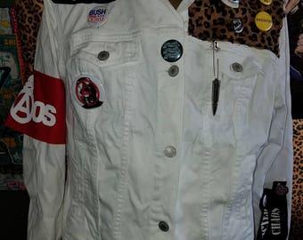 ladies XL white denim jacket leopard patches blitz ultra-violent patch pins seditionaries armband