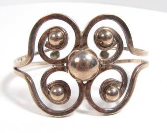 Vintage Sterling Silver Open Swirl Taxco Mexico Cuff Bracelet Maiden Size Small Wrist