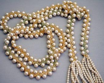 Edwardian Crochet Beaded Necklace Long Beaded Pearl Necklace Edwardian Jewelry Faux Pearl VC36