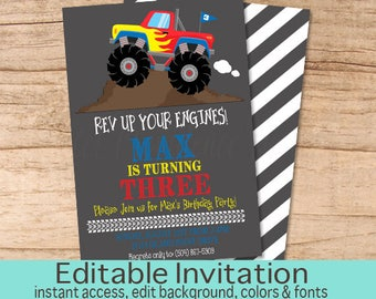 Monster Truck Birthday Invitation, Boys Birthday invitation, Red Monster Truck Invitation, Editable Birthday Invitation, Instant Download