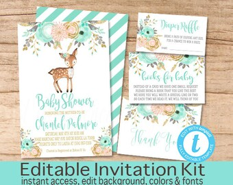 Baby Shower Invitation Kit, Woodland Animals Floral Invitation Set, Editable Baby Shower invitation Suite, Woodland Invite, Instant Download