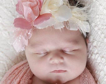 Blush knit swaddle wrap AND / OR matching ribbon flower stretch lace headband for newborn photo shoots, Lil Miss Sweet Pea, 51