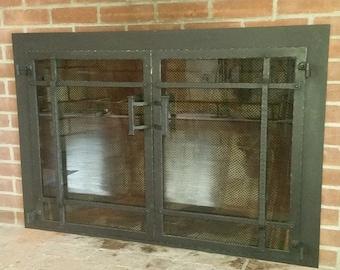 Fireplace doors, Custom made fireplace doors, Hand made doors, Wrought iron doors