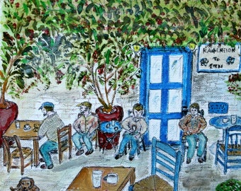 Watercolor painting of a Greek Traditional Cafe