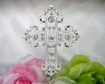Cross Cake Topper, Cross Silver Rhinestones for Baptism, Christening, First Communion, Confirmation, Religious, Wedding, 4.75″H x 3.5″ W