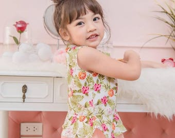 Girl Floral sleeveless blouse sweet floral top summer top for girl