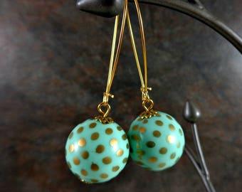Statement Earrings, Bead Earrings, Gumball Earrings, Gold, Mint, Polka Dot, Long Earrings, Gold Earrings, Kidney Wire Earrings, Drop, Dangle