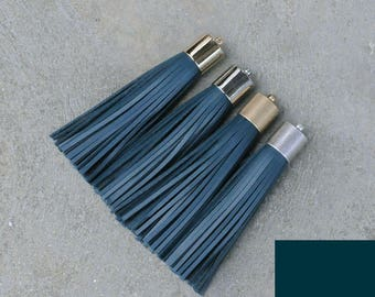 Teal-(B) Leather(cowhide)  TASSEL in 16mm  Gold, Silver, Antique Brass or Antique Silver Plated Cap- Pick your tassel cap
