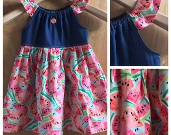 Watermelon Cotton and Denim Summer Peasant Dress, size 3t