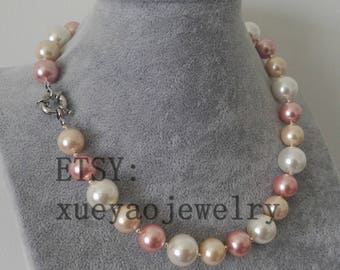 free shipping - shell pearl necklace, 12-14mm white pink purple multi-color shell pearl necklace