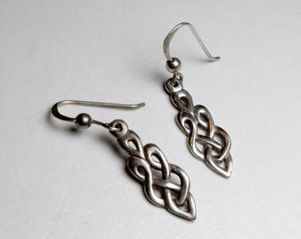 SALE Vintage Sterling Silver Celtic Twist Knot Pierced Dangle Earrings