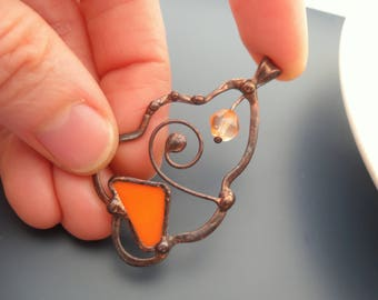 Wire jewelry, stained glass necklace, contemporary jewelry, gift for women, bohemian jewelry, orange glass beaded, artistic pendant
