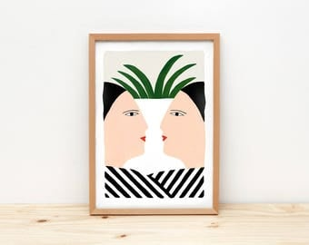 Face to face - illustration by depeapa, print, poster, A4 wall art, wall decor, women portrait