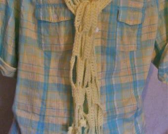Yellow Light Weight Open Crocheted Scarf