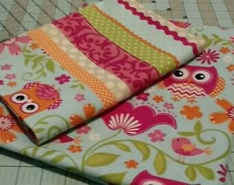 Nap Mat Set - Pink owls - pillowcase and mat case