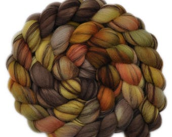 Hand dyed roving - 21.5μ Merino wool combed top spinning fiber - 4.2 ounces - Head to Head 2