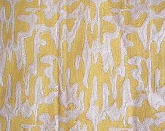 Lemon Yellow White Abstract Design Upholstery Fabric Heavy Weight 1.5 Yrd x 50 w